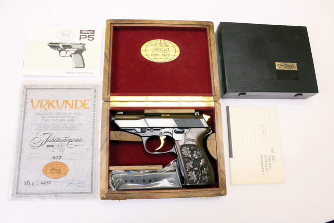 "Pistole - Walther Mod. P5 ""100 Jahre Walther"" 1886-1986 in Sammlerbox (Nr. 417/500) / Cal. 9mm Luger"