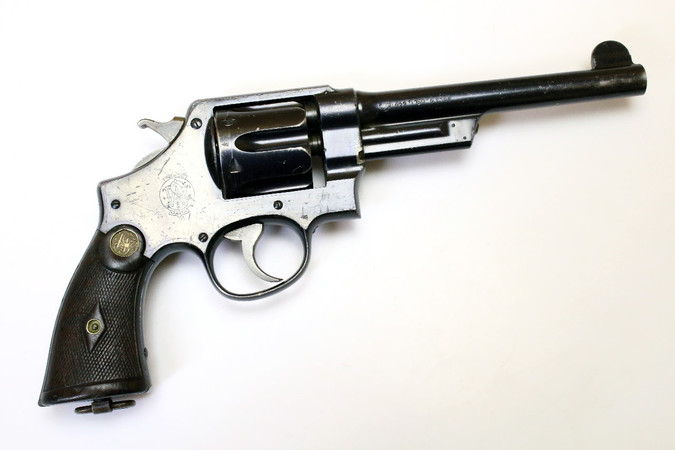 "Revolver - S&W .44 Hand Ejector 1st Model ""New Century"" Triple Lock 1908 (konv. .455 Version #1048)"